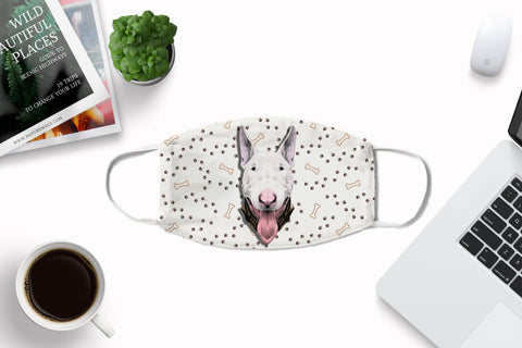 Bull Terrier Face Cover Washable Reusable Sublimation Printed Fabric Cover Art