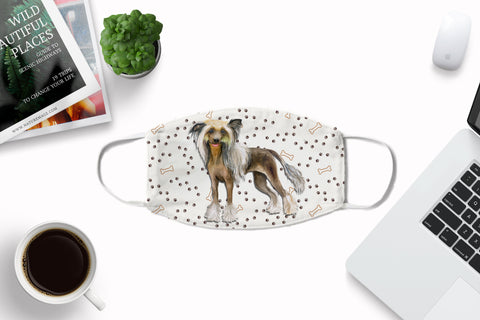 Chinese Crested Dog Face Mask Washable Reusable Sublimation Printed Fabric Face Art