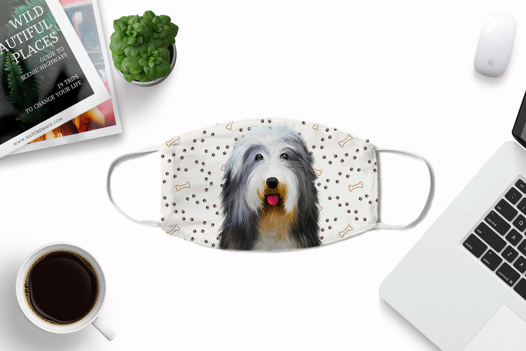Bearded Collie Face Mask - Reusable, Washable with carbon filter