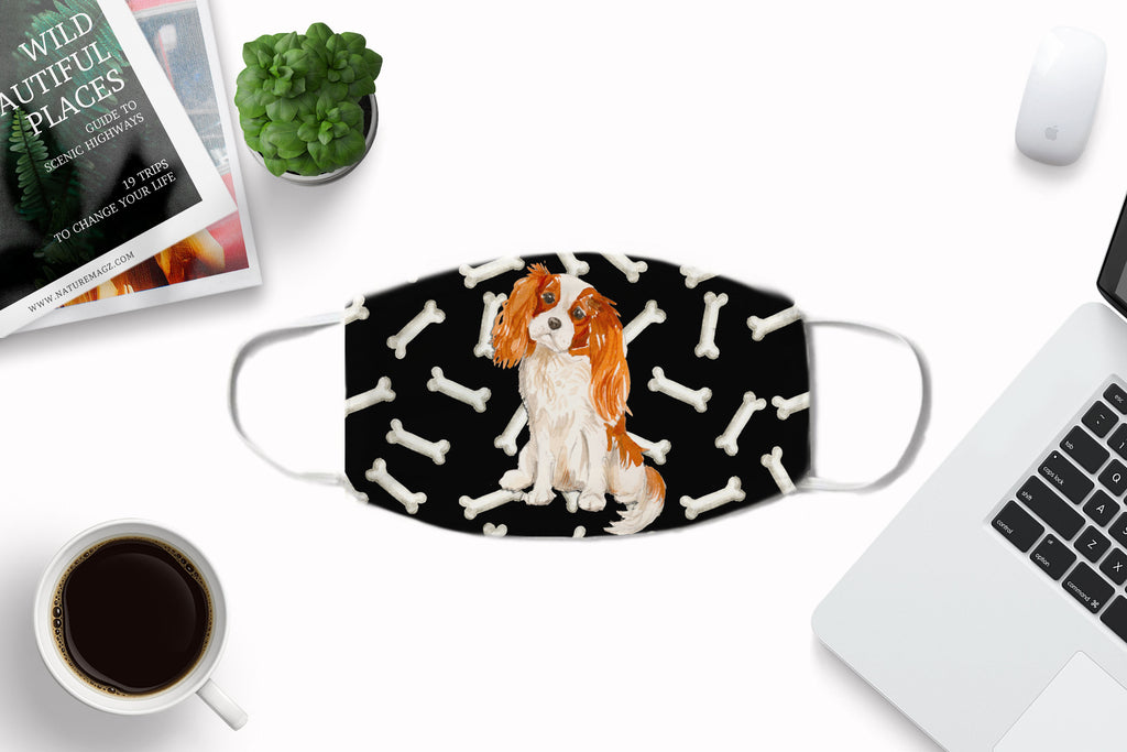 Cavalier King Charles Spaniel Child and Adult Face mask nose crimps filter pocket