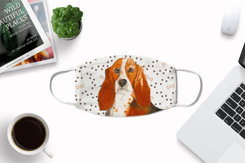 Basset Hound watercolor printed face mask child and adult nose crimps