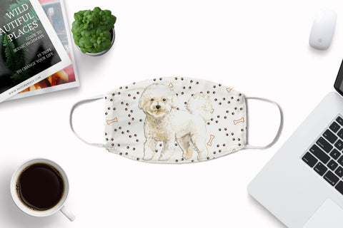 Bichon Frise Dog Watercolor printed Face Mask with nose crimps and pocket