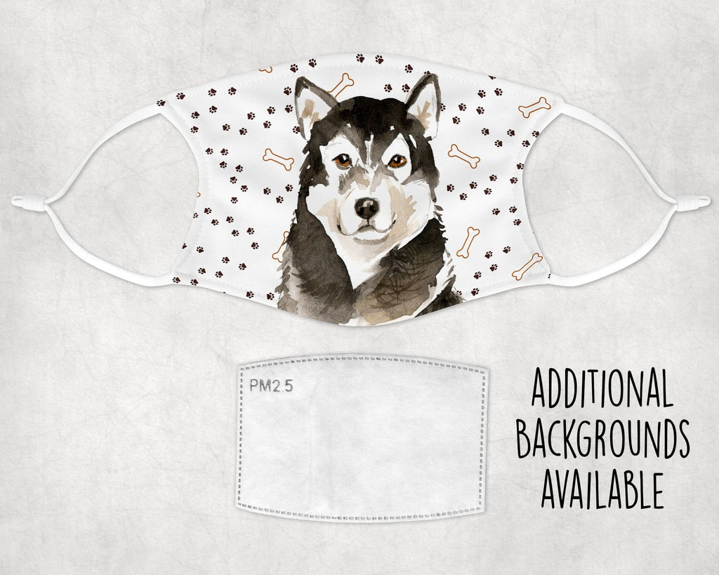 Alaskan Malamute dog non-medical face mask washable, reusable Made in USA