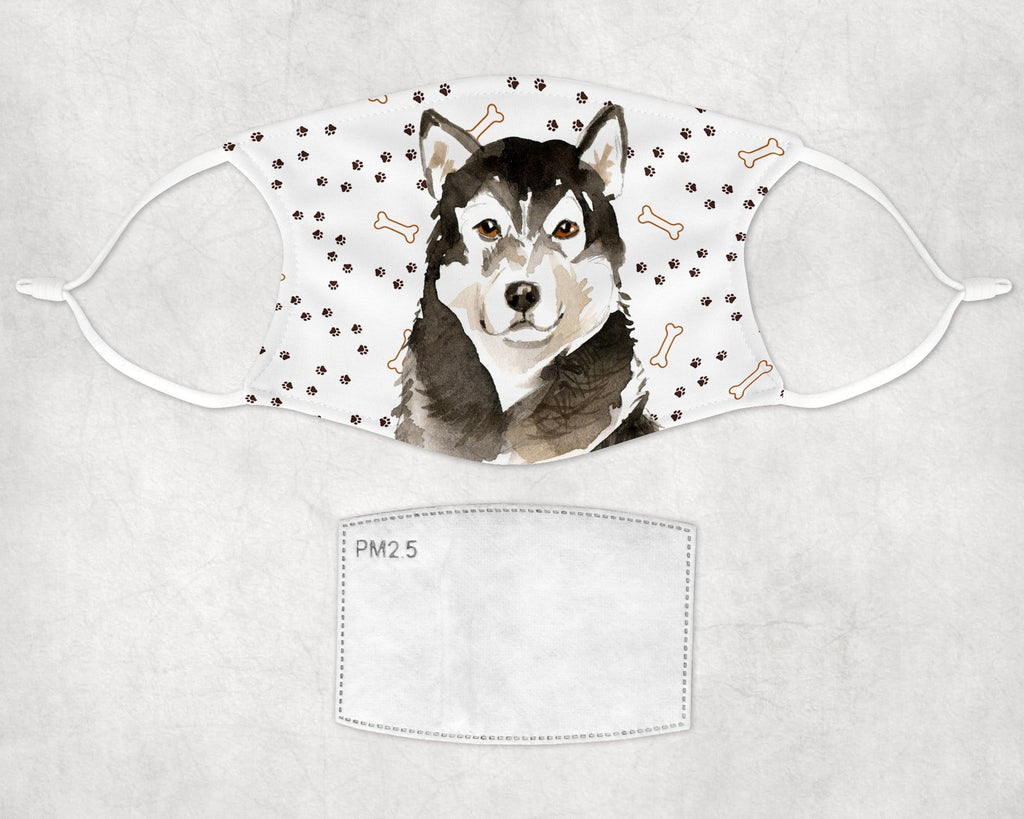 Alaskan Malamute Child Face Mask - Washable Re-Usable pocket and carbon filter