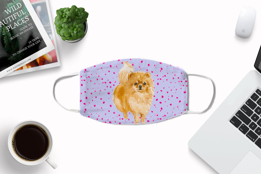 Pomeranian Watercolor Printed Fabric Face Cover Art -Washable Reusable with Carbon Filter