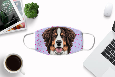 Bernese Mountain Dog Fabric Face Mask Washable Reusable Sublimation Printed Face Cover Art