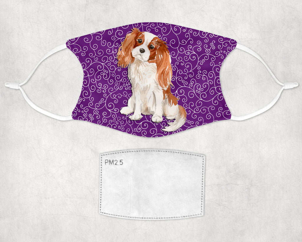 Cavalier King Charles Spaniel Halloween Printed Face Masks Child and Adult sizes Made in USA