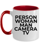 Person Woman Man Camera TV Cognitive Test Coffee Mug