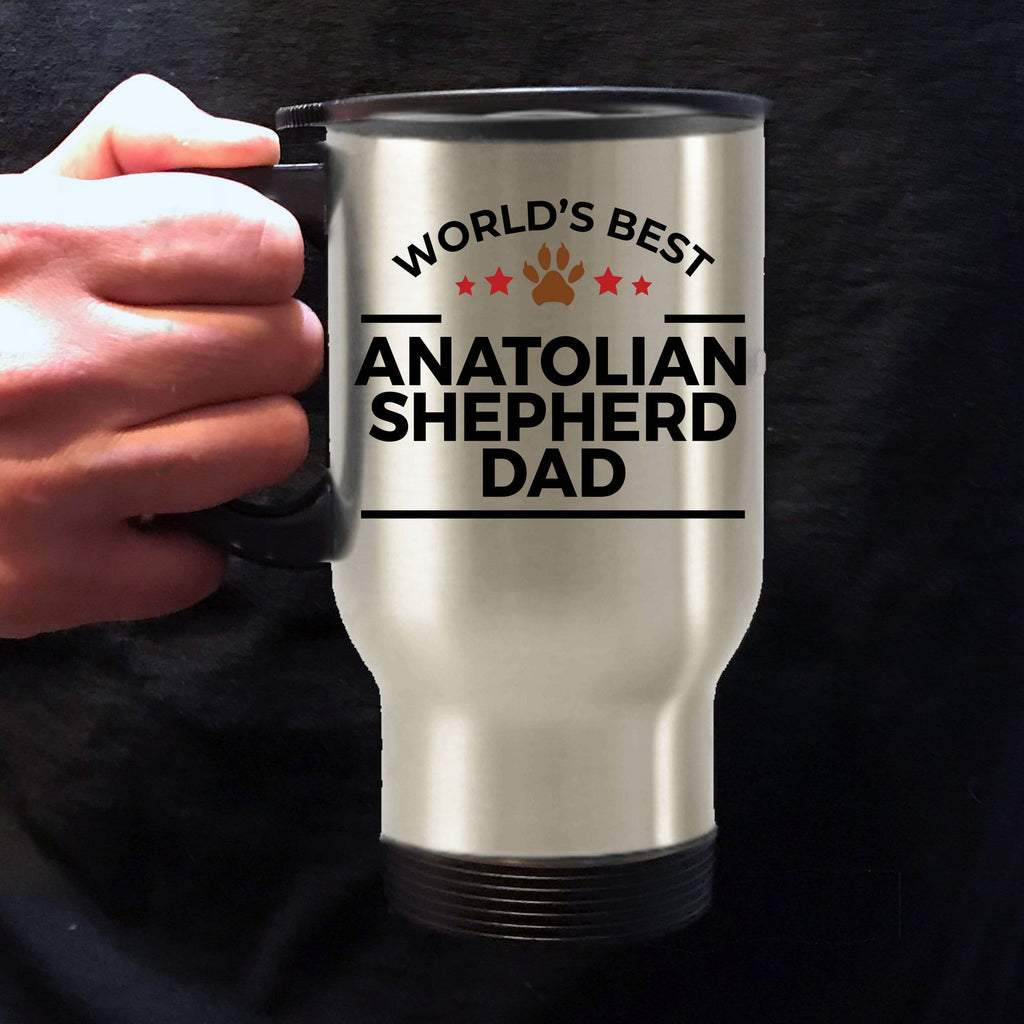 Anatolian Shepherd Dog Lover Gift World's Best Dad Birthday Father's Day Stainless Steel Insulated Travel Coffee Mug