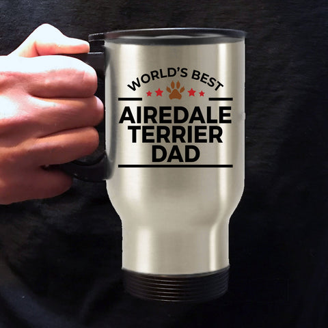 Airedale Terrier Dog Lover Gift World's Best Dad Birthday Father's Day Stainless Steel Insulated Travel Coffee Mug