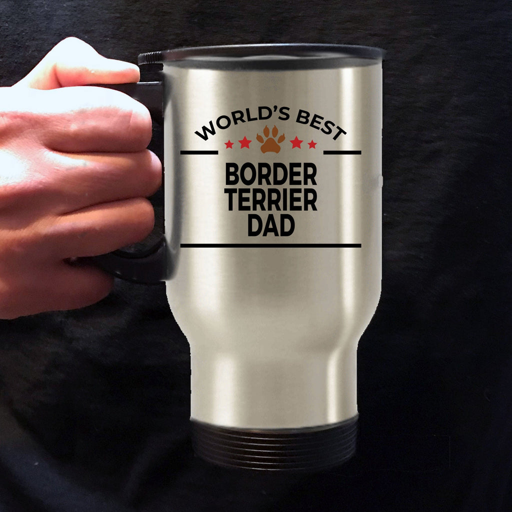 Border Terrier Dog Lover Gift World's Best Dad Birthday Father's Day Stainless Steel Insulated Travel Coffee Mug