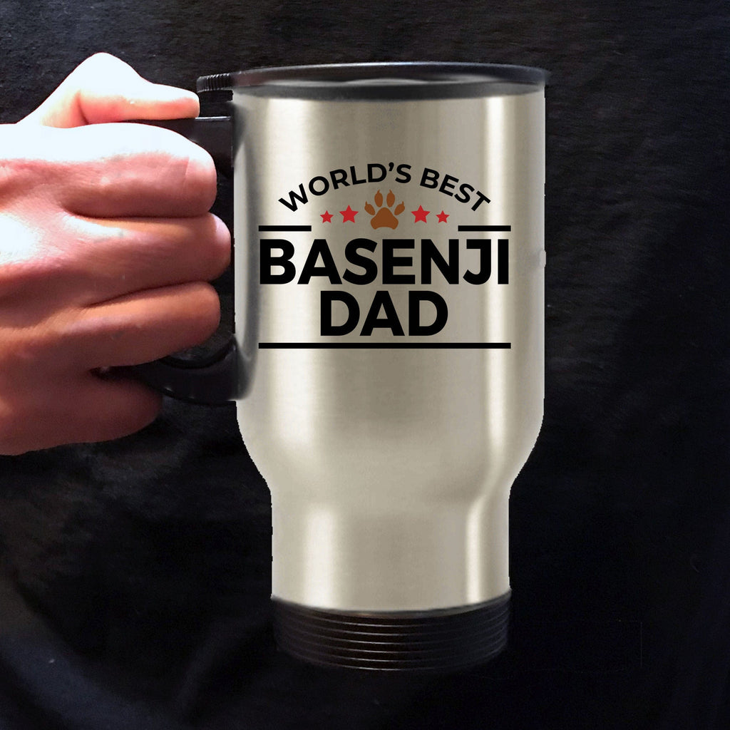 Basenji Dog Lover Gift World's Best Dad Birthday Father's Day Stainless Steel Insulated Travel Mug