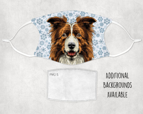 Border Collie Brown Watercolor Snowflake Face Mask Child and Adult Made in USA