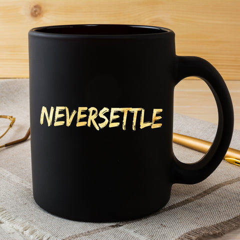Never Settle Coffee Mug Gift Father's Day Houston Baseball Black Cup