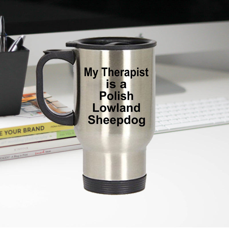 Polish Lowland Sheepdog Dog Therapist Travel Coffee Mug