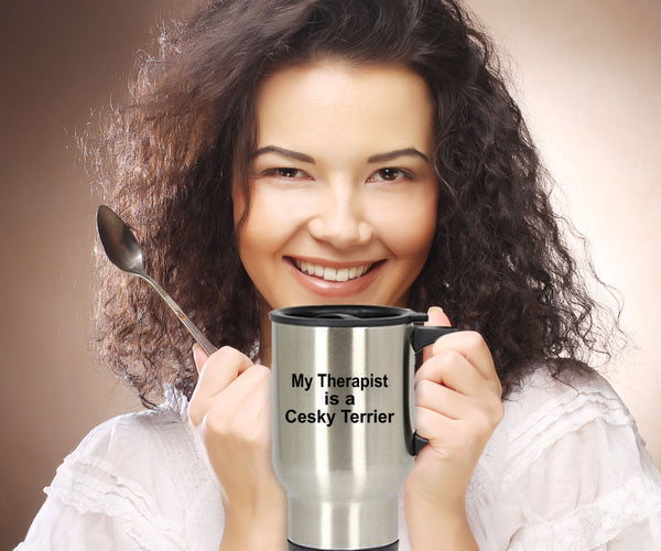 Cesky Terrier Dog Lover Owner Funny Gift Therapist Stainless Steel Insulated Travel Coffee Mug