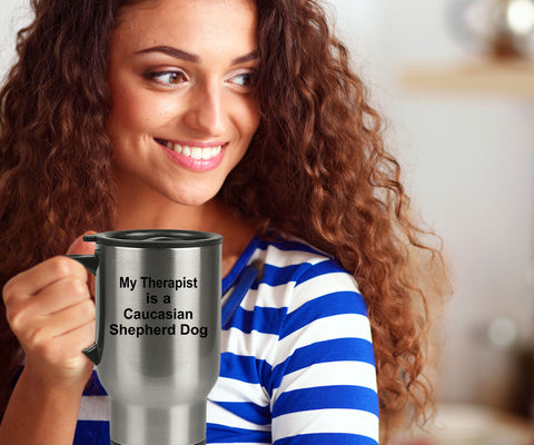 Caucasian Shepherd Dog Owner Lover Funny Gift Therapist Stainless Steel Insulated Travel Coffee Mug