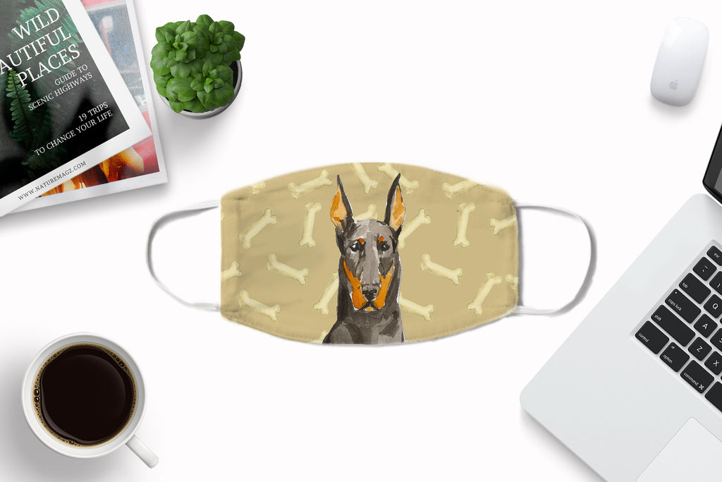 Doberman Pinscher watercolor printed Face Mask
