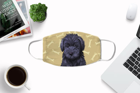 Schnoodle Puppy watercolor face mask - washable