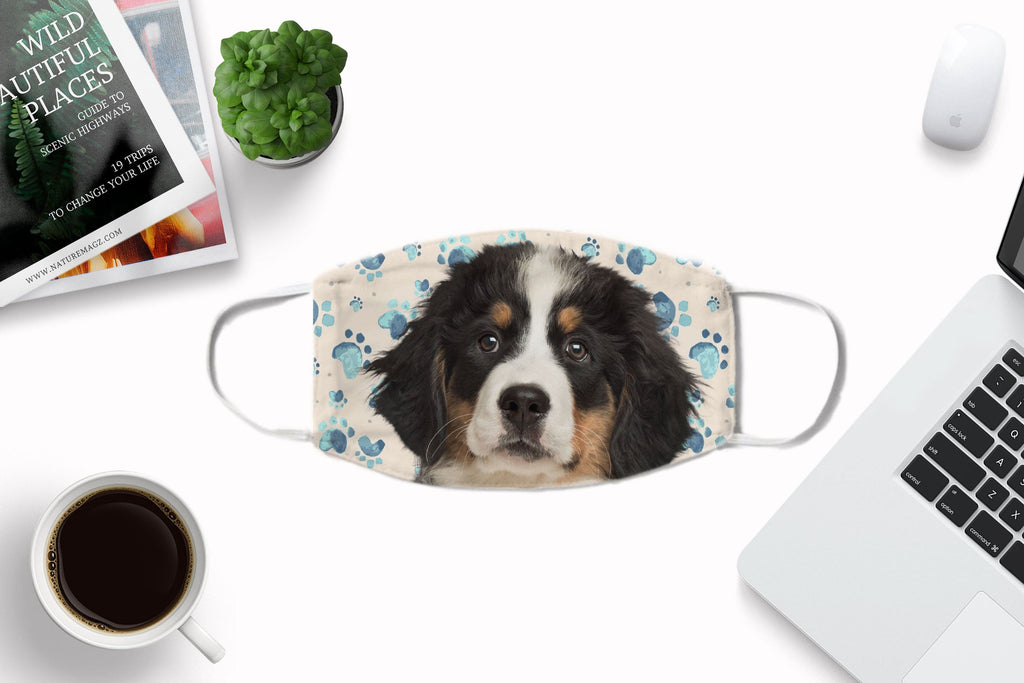 Bernese Mountain Dog black puppy non-medical face cover art