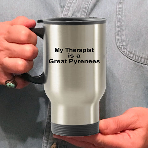 Great Pyrenees Dog Owner Lover Funny Gift Therapist Stainless Steel Insulated Travel Coffee Mug