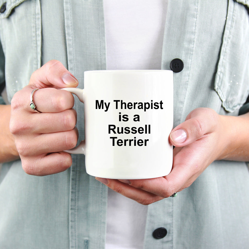 Russell Terrier Dog Owner Lover Funny Gift Therapist White Ceramic Coffee Mug