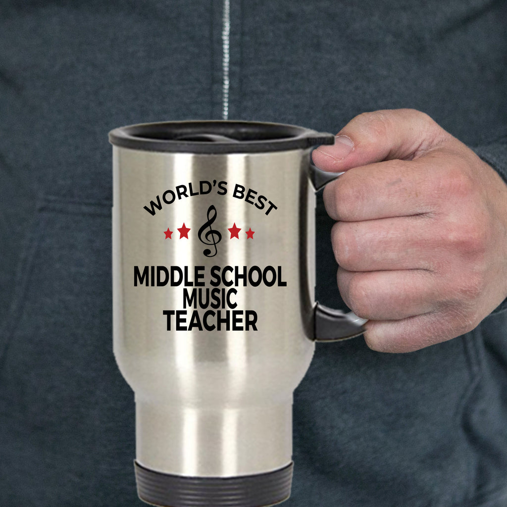 Middle School Music Teacher Gift World's Best Birthday Appreciation Thank-you Present Stainless Steel Travel Coffee Tea Mug
