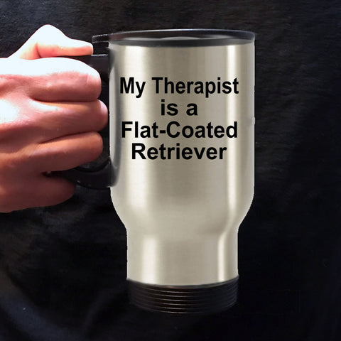 Flat-Coated Retriever Dog Owner Lover Funny Gift Therapist Stainless Steel Insulated Travel Coffee Mug