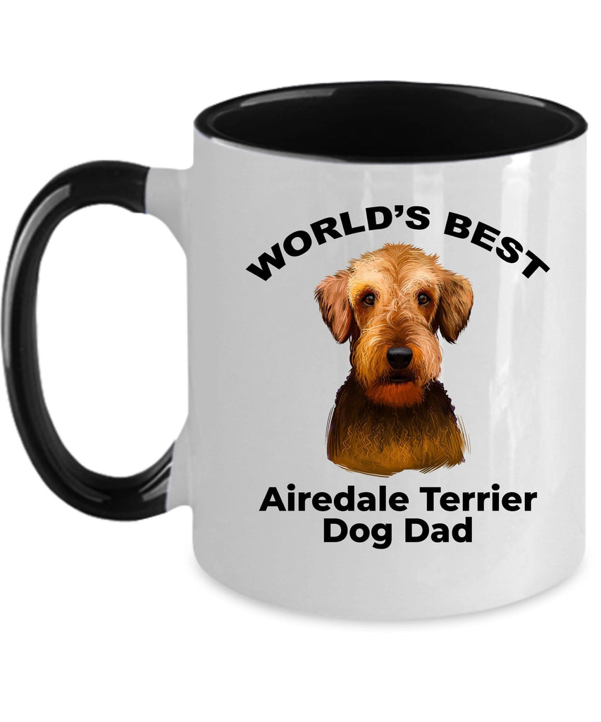 Airedale Terrier Best Dog Dad Two Tone and White Ceramic Coffee Mug