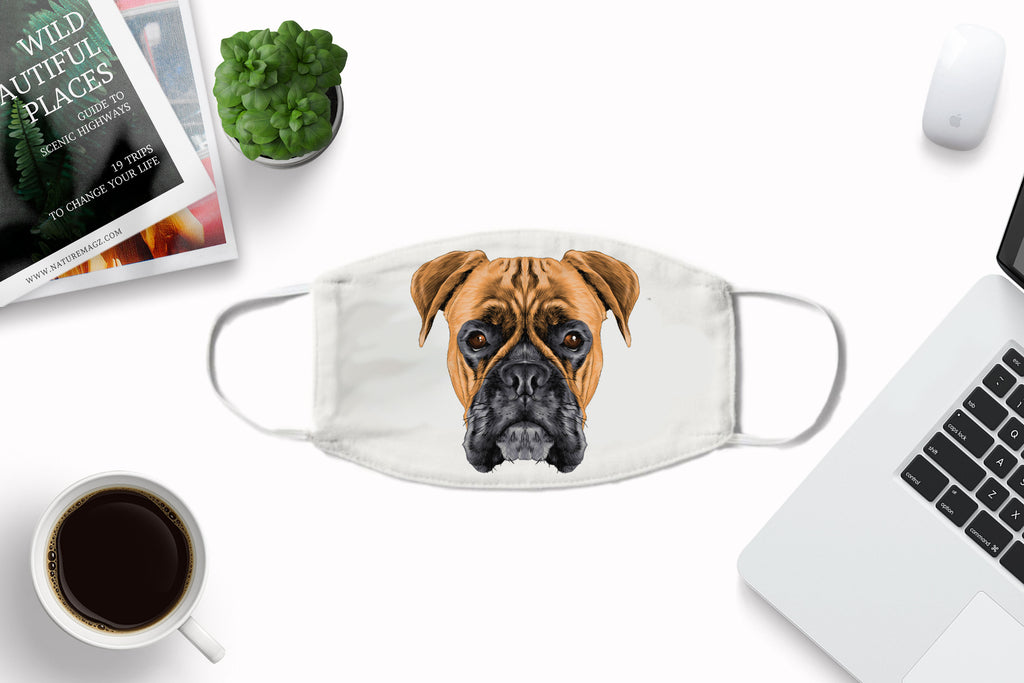 Boxer Dog Face Cover Washable Reusable Sublimation Printed Fabric Face Art