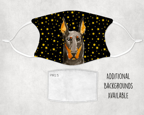 Doberman Pinscher Dog Face Mask Washable Adjustable Earloops Child and Adult Made in USA