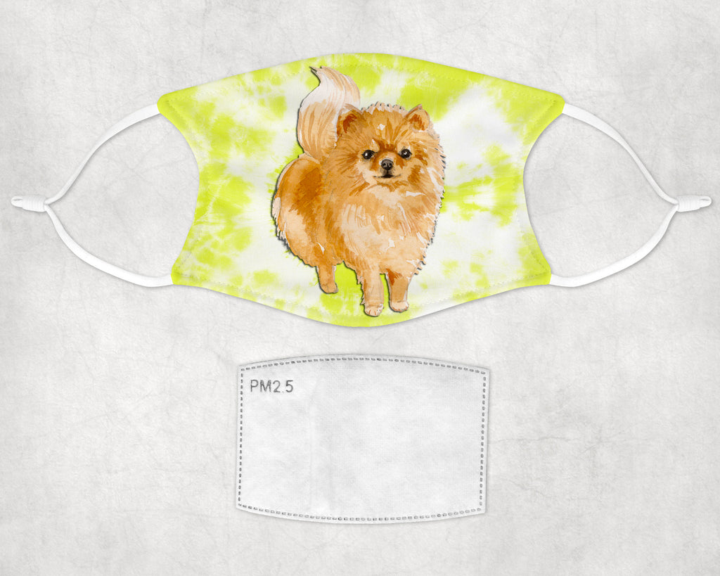 Pomeranian Dog Tie dye child and adult face mask made in USA