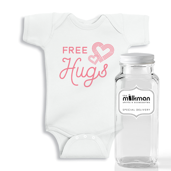 Free Hugs Onesie in Milk Bottle