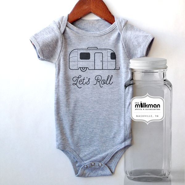 Let's Roll Onesie in Milk Bottle
