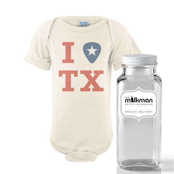 "I ""Pick"" TX Onesie in Milk Bottle"
