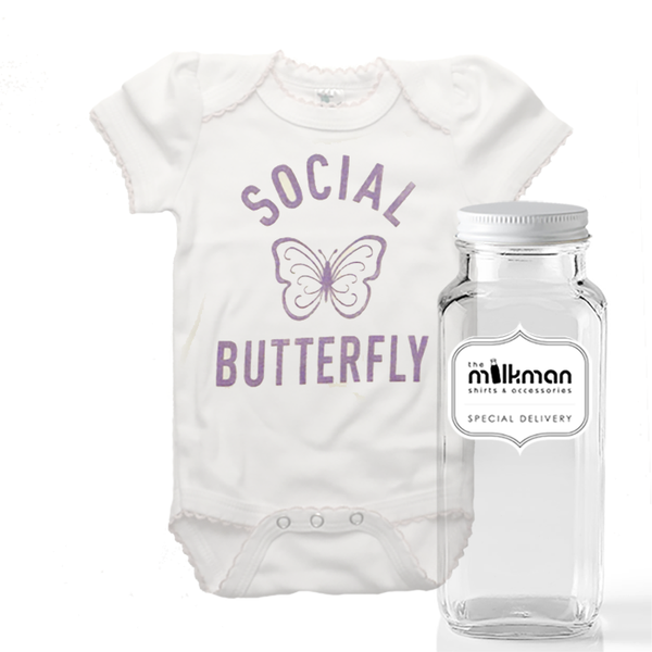 Social Butterfly Onesie in Milk Bottle