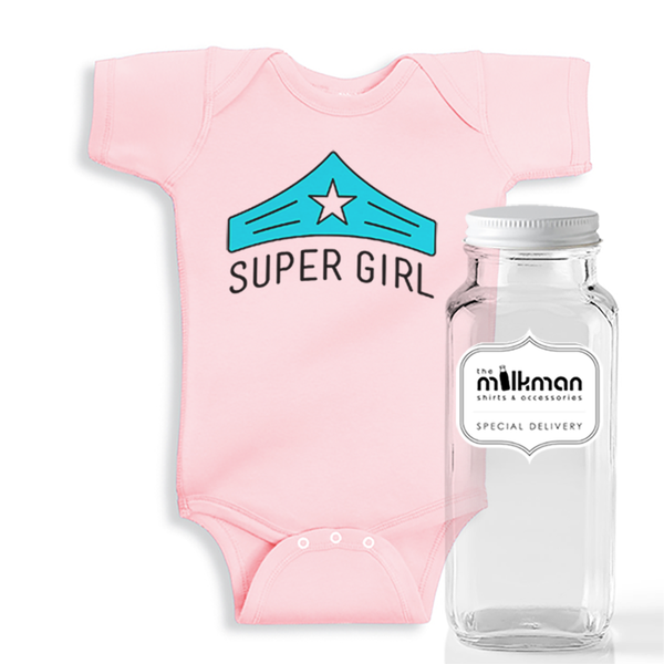 Super Girl Onesie in Milk Bottle