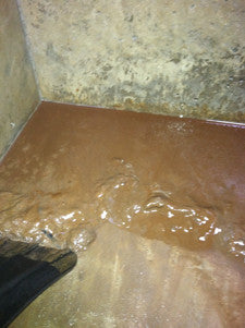 Cistern cleaning example - shoveling mud before!