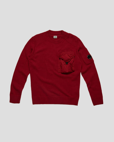 C.P. COMPANY LAMBSWOOL MIXED CHROME POCKET CREW SWEAT 2019
