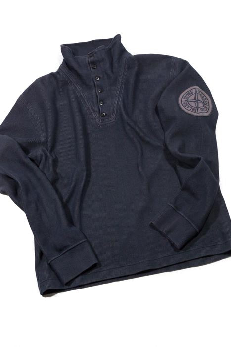Stone Island SS 2004 Half Button Ribbed Knit - M/L