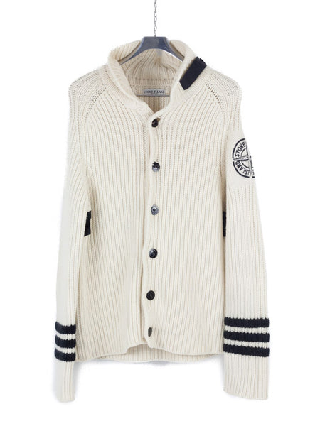 Stone Island AW 2005 Heavy Wool Knit Cardigan Marina stripes