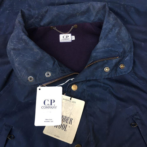 vintage cp company rubber wool jacket with original labels by massimo osti