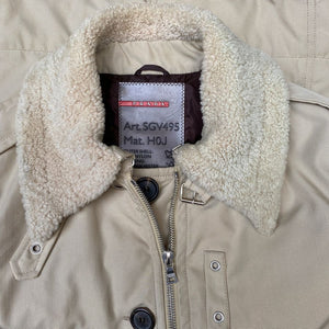 prada flight jacket with shearling fur collar