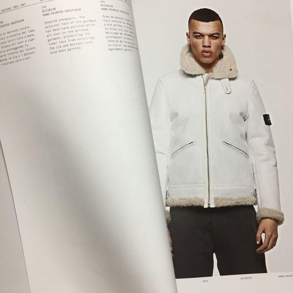stone island archivio 30th anniversary book hand painted sheepskin jacket white 2006