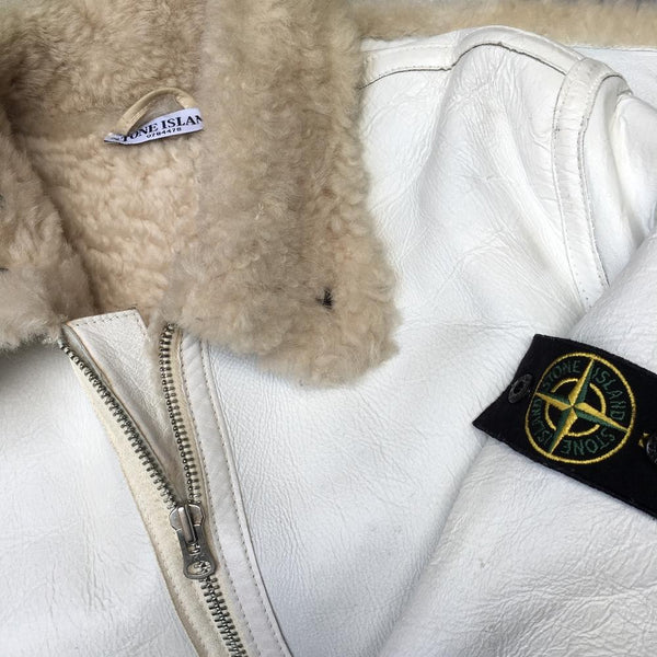 stone island aw 2006 hand painted sheepskin jacket