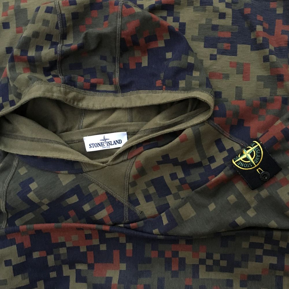 Stone Island AW 2012 Pixel Camouflage Reversible Hooded Sweatshirt - L/XL