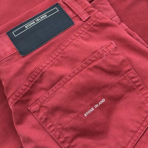 stone island denims ss 2001 trousers red
