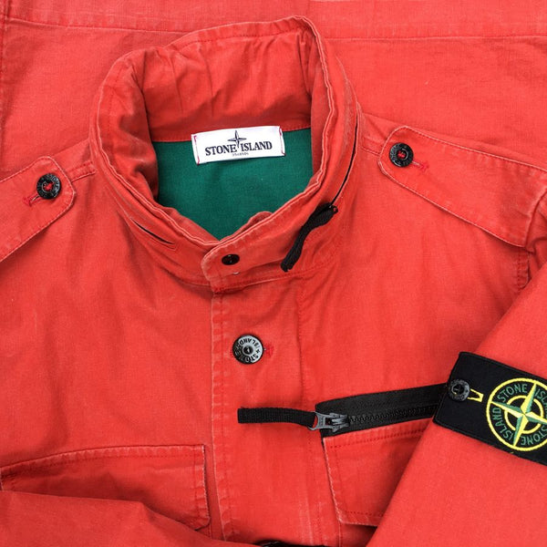 stone island tela stella field jacket in red