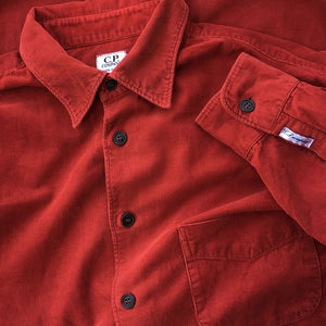 vintage c.p. company corduroy shirt in red