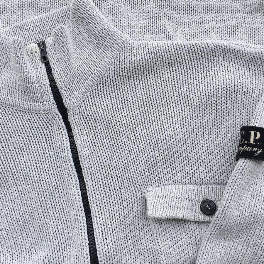 cp company undersixteen cardigan with badge on arm